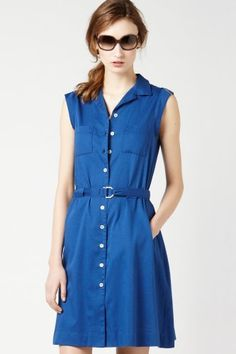 Sleeveless Button Front Twill Belted Shirt Dress by Lacoste