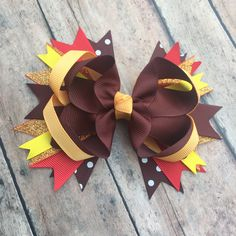 Thanksgiving Hair bow - Fall Hair bow - red, brown, orange, and gold bow - Fall Hair Clip - sparkle bow - Thanksgiving Accessory by BBgiftsandmore on Etsy