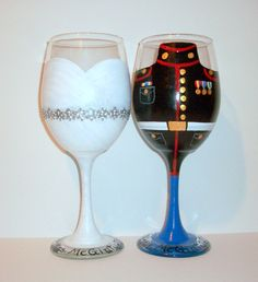 Hand Painted Wine Glasses Bride and Groom Wedding Dress and Marine, Army, Navy, Airforce Uniform Set of 2 / 20 oz. White Wine Glasses by SharonsCustomArtwork on Etsy