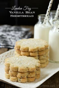 "London Fog Vanilla Bean Shortbread - buttery, melt in your mouth shortbread cookies with lots of vanilla beans and a fun secret ingredient that makes them qualify for the name ""London Fog""!"