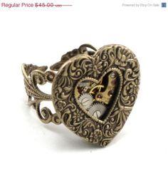 ON SALE Heart Gears  ROMANTIC Steampunk Neo by ghostlovejewelry, $38.25