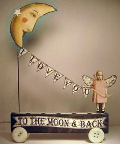Fairy Moon 3D Altered Folk Art Bunting Collage Hand Made Mixed Media OOAK | eBay