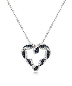 Loving this Blue Diamond Braided Heart Pendant Necklace on #zulily! #zulilyfinds