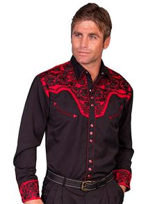 Scully Men's Black Western Shirt with Red Vintage Embroidery - Men's Western Shirts - Men's