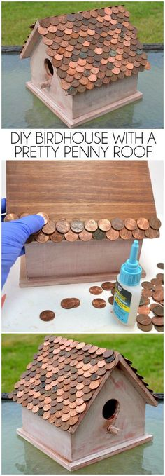 DIY your photo charms, 100% compatible with Pandora bracelets. Make your gifts special. Make your life special! DIY birdhouse with a pretty penny roof. This looks amazing!