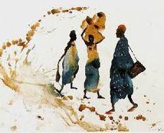 Imagen relacionada Watercolor Sketch, Watercolor Illustration, Watercolor Paintings, Africa Art, Art Moderne, Art Sketchbook, Drawing People, Figure Painting, Painting Inspiration