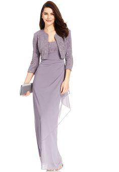 80edd0d63343a Alex Evenings Alex Evenings Glitter Jacquard Cascade Ruffle Gown and Jacket  Formal Dresses For Women