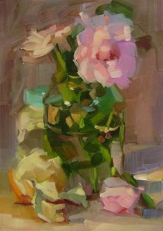 """Daily Paintworks - """"Pink Roses"""" - Original Fine Art for Sale - © Holly Storlie"""