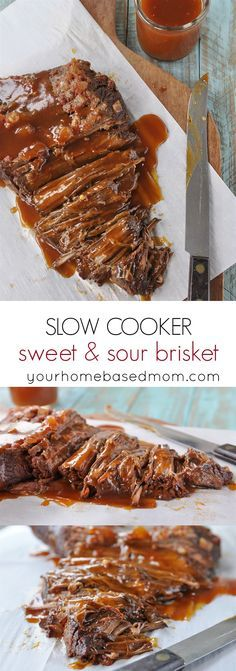 Slow Cooker Sweet & Sour Brisket Recipe - so tender and flavorful and easy in the Crock Pot!