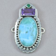 Tabra Larimar, Amethyst, and Emerald Charm