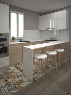 Modern Kitchen Interior Cool 45 Modern Contemporary Kitchen Ideas - Browse photos of Small kitchen designs. Discover inspiration for your Small kitchen remodel or upgrade with ideas for organization, layout and decor. Kitchen Ikea, Home Decor Kitchen, New Kitchen, Home Kitchens, Kitchen Small, Kitchen Flooring, Kitchen Island, Island Stools, Space Kitchen
