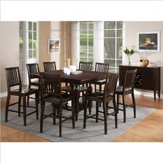 Steve Silver Company Candice 9 Piece Counter Dining Table Set In Dark  Espresso | Best Furniture
