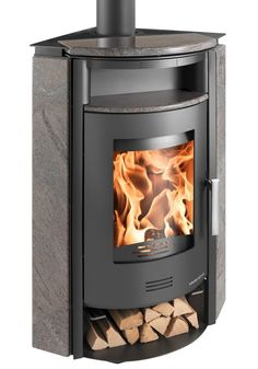 """HAAS + SOHN """"Kuopio Eck"""" stove, steel, 8 kW, for the corner, ext. Air Supply, Granite, Corner, Home Appliances, Wood, Stuff To Buy, Fireplace Ideas, Bench, Technology"""