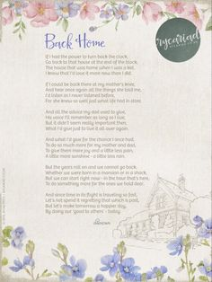 Here's a poem called 'Back Home' by an unknown author which was passed on to me today, on a handwritten, battered piece of paper. I've reproduced it with a little artwork in digital form it to share with you all. It's also provided in raw text...