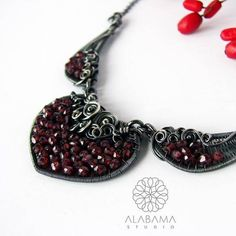 Garnet dream necklace  unique garnet necklace sterling