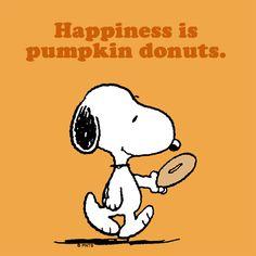 Snoopy~Happiness is pumpkin donuts. Peanuts Cartoon, Peanuts Snoopy, Peanuts Comics, Snoopy Comics, Snoopy Love, Snoopy And Woodstock, Peanuts Characters, Cartoon Characters, Snoopy Pictures