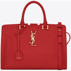 Small Monogram Saint Laurent Cabas Bag In Red Leather ($2,450) ❤ liked on Polyvore