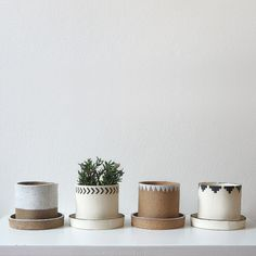 Mini ceramic planters by Jane Kelsey