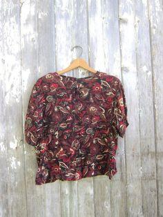 234e020a6096a Rayon Blouse 90s Vintage Modern Tshirt Dark Floral Print Revival Top Office  Work Shirt Womens Medium