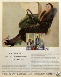 """That easy to drive, is it?  LOL!!  1932 Buick Eight Wizard Control """"as Simple as Summoning Your Maid"""" Vintage Ad 