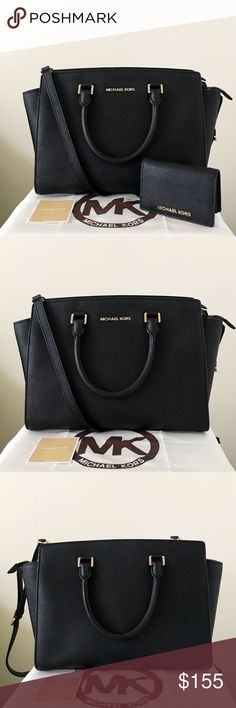 Michael Kors Large Selma With Wallet Classic set! Black Saffiano leather with gold detailing. Both are lightly used. Authentic.   The Selma is in large size, shows minor wear on the hardware, other than that in really good condition.  Wallet shows wear on the inner corner. Please see pictures for detail. Overall in good condition.  Measurement: 14*10*5.5 inch   Dust bag is included Michael Kors Bags Satchels