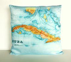CUBA map cushion cover organic cotton  maps by mybeardedpigeon, $55.00