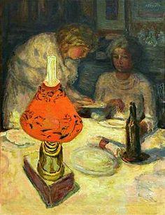 Pierre Bonnard - Souper à L'Abat-Jour (The Orange Light Shade), 1908