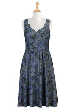 Notched sweetheart neck denim print dress. I don't like flowers except when I do.