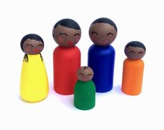 African American Peg Dolls Peg Family Dollhouse by Quinnipeg