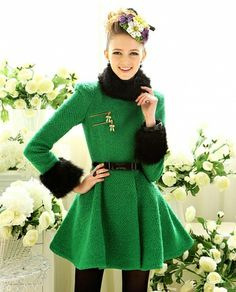 Special Green with black fur collar pendulum-Coat  Coat (Green) Trench Coats from stylishplus.com