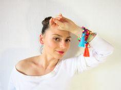 Bracelet handmade beads Boho style tassels from by JewelryNeshElly, $21.00