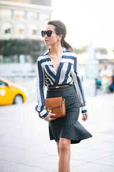 Stripe Mix :: Draped blouse