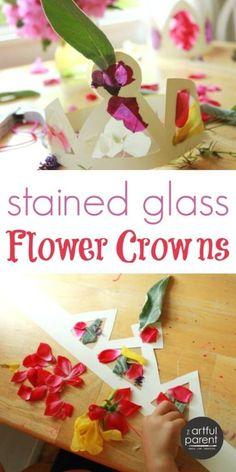 DIY Flower Crowns for Kids #spring #flowers #craftsforkids #kidsactivities #artsandcrafts