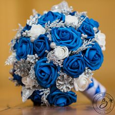 """""""Blue Frost Deux"""" Large Winter Floral Wedding Bouquet with Two Shades of Royal Blue Roses, White Rosebuds, Pinecones and Silver Glitter Accents Rich Blue Tones. Blue Wedding Flowers, White Wedding Bouquets, Bridal Flowers, Flower Bouquet Wedding, Floral Wedding, Wedding Colors, Trendy Wedding, Wedding Dresses, Wedding Blue"""