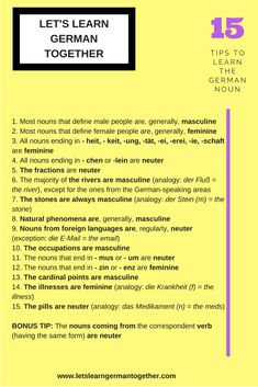 15 Tips to Learn the German Noun Can You Be, Let It Be, German Language Learning, Vocabulary List, Learn German, Try To Remember, Learning Process, New Words, Definitions