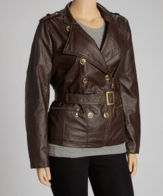 Look at this #zulilyfind! Dollhouse Coffee Belted Double-Breasted Coat - Plus by Dollhouse #zulilyfinds