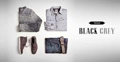 Schwarz und grau sind auch für Herren zu den Festtagen im Trend. #Black #Grey #SportScheck #Fashion #Weihnachten #Silvester
