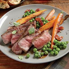 Dinner Tonight: Beef and Lamb | Herb-Rubbed New York Strip with Sautéed Peas and Carrots | CookingLight.com