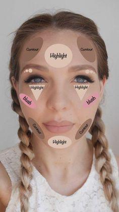 Highlight Contour Makeup, How To Contour Your Face, Make Up Contouring, Contou… Highlighter Makeup, Skin Makeup, Makeup For Eyebrows, Makeup For Acne, Flawless Face Makeup, How To Do Eyebrows, Highlighters, Makeup Brush Uses, Makeup Face Charts