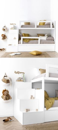 Elos bunk bed with large step ladder - Kenay Home Small Room Bedroom, Dream Bedroom, Girls Bedroom, Bedroom Decor, Creative Beds, High Sleeper Bed, Kids Room Murals, Deco Kids, Teenage Room