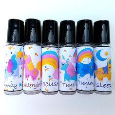 Unicorn Essential Oil Labels Roller Bottle Labels Girls