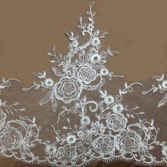 Width 15.74 inches Ivory wedding lace trimflowers by POPOLace 7.99$/yard