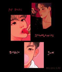 Baekhyun Fanart, Chanbaek Fanart, Kpop Fanart, Exo Cartoon, Exo Fan Art, Candy Art, Cute Candy, Pop Rocks, Taeyong