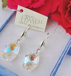 Ebay-jewellerymw-EARRINGS SWAROVSKI Elements ALMOND CRYSTAL BLUE AB 22mm STERLING SILVER 925-$15.97