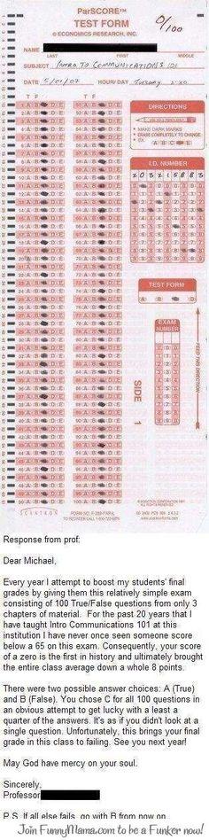 A Simple Scantron Test