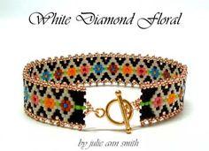 WHITE DIAMOND FLORAL Skinny Mini Bracelet Beading Pattern by Julie Ann Smith Designs at Bead-Patterns.com!