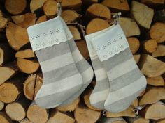 Linen Christmas stockings from striped grey and beige by MilaStyle, $64.00
