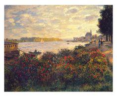 Stampa su tela 'La Senna a Argenteuil' Claud Monet, 50x40 cm