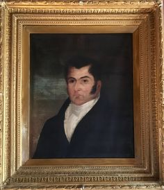 """Antique early 19th century oil on canvas portrait in a double hung gilded gold frame. 29""""w x 32""""h SOLD"""