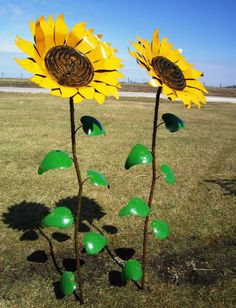 "67"" Recycled Metal Giant Sunflower Stake Yard Decor from metal sunflower yard art, source:arusticgarden.com"